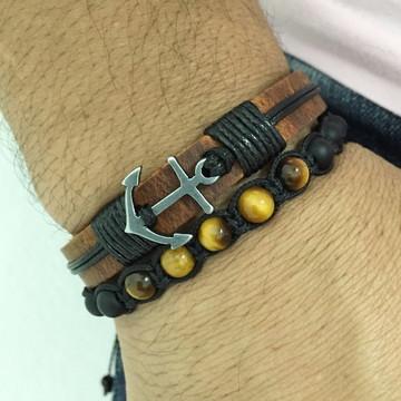 Kit pulseiras masculina ancora e pedras