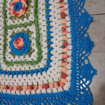 Tapete Crochê Azul