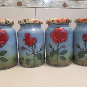 Kit de potes rosas vermelhas