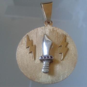 Medalha Iansã Adaga com Raios em prata
