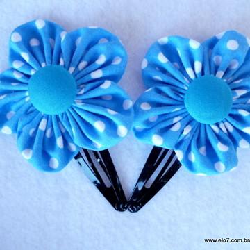 Par De Flores Poá Azul