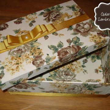 Caixa MDF forrada em tecido - Dourada