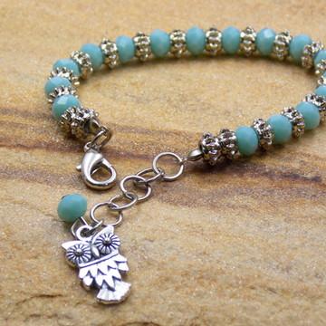 Pulseira coruja turquesa e prateada bijuterias