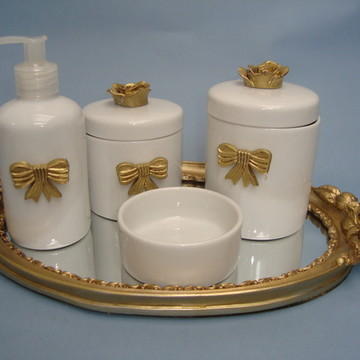 Kit Higiene Porcelana Laço Dourado I