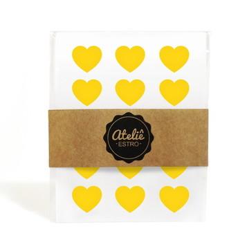 Mini Adesivos Coração - Amarelo