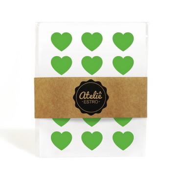 Mini Adesivos Coração - Verde