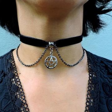 Gargantilha choker pentagrama