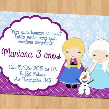Convites - Aniversário Tema Frozen