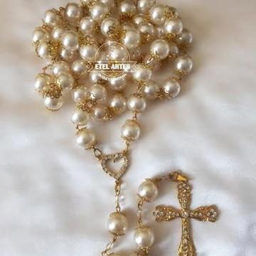 Terço em pérolas dourado para noivas!