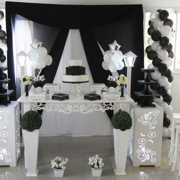 Aluguel Decoração Festa de 15 Anos Preto Branco Quinze Anos