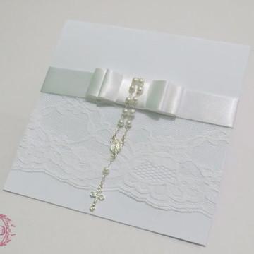 Convite de Casamento Renda Mini Terço