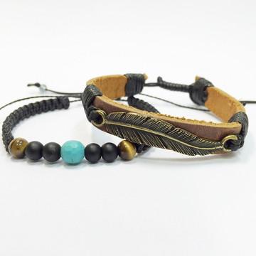 Kit pulseiras masculinas couro e pedras