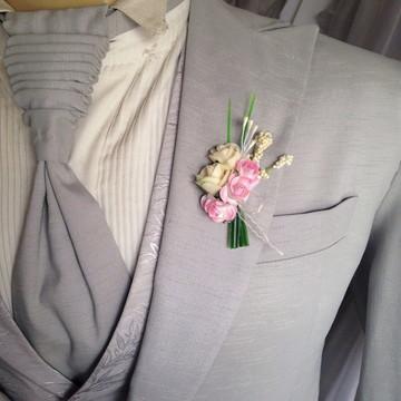 Lapela para noivo/ padrinhos Rosa