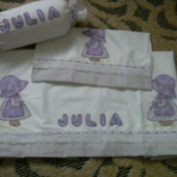 Lençol de Berço Bordado Lilas/Julia