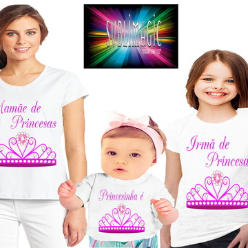 Kit 3 Camisetas Família de Princesas