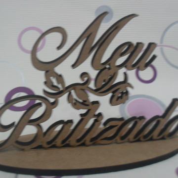Topo de bolo batizado em mdf