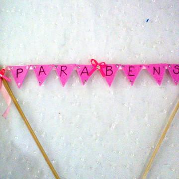 BANDEIROLA TOPO DE BOLO PARABENS