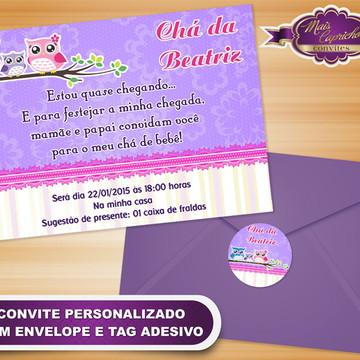 Convite Chá de Bebê Corujinha