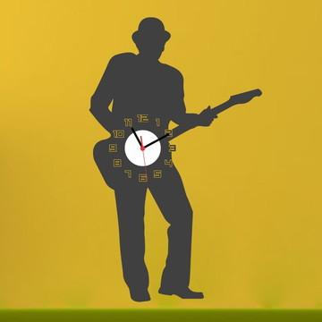 Adesivo Relógio Funcional Guitarrista