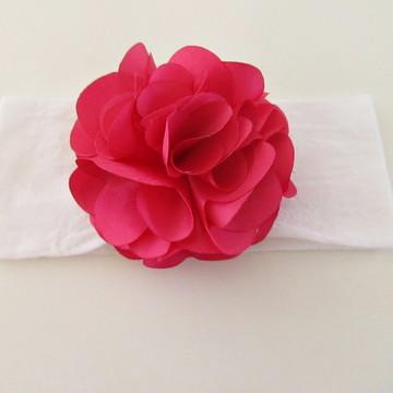 faixa meia seda bebe criança tiara flor