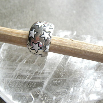 Anel prata esmaltada-'Estrelas Brancas'