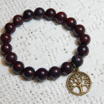 Pulseira Jasper Vermelho/Árvore da Vida