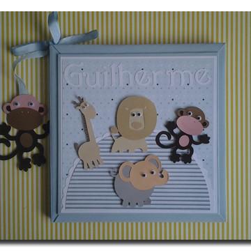 Livro Do Bebê personalizado para menino Safari azul