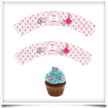 Wrappers Cupcake Barbie Moda e Magia