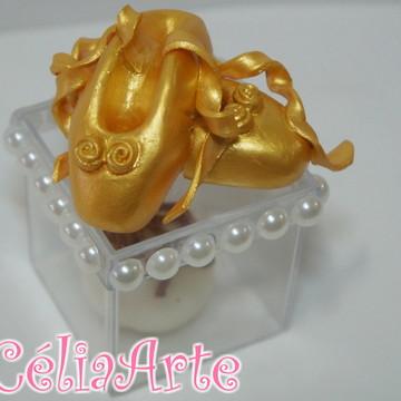 Caixinha Sapatinho Bailarina dourada