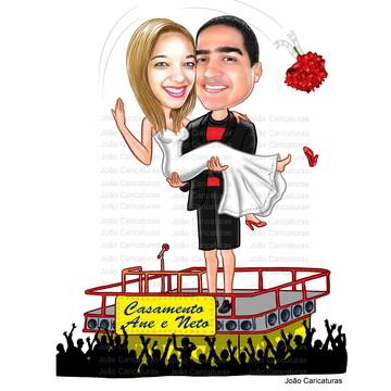 Caricatura digital de Casamento -Tema Carnaval