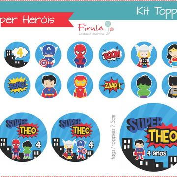 Kit Digital Toppers Super Heróis