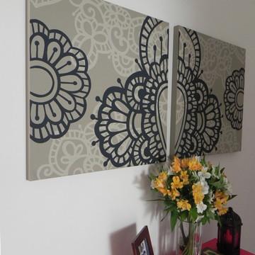 Quadro Pintura em Par de Telas Marrocos 2 60X60cm