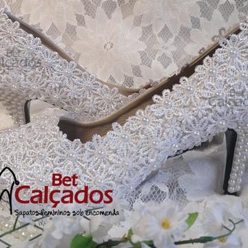 Sapato Noiva LUXO pérolas (salto 8cm)