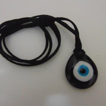 Colar Olho turco/olho grego preto (gota)