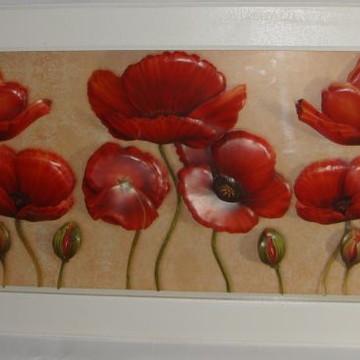 Quadro arte francesa Papoulas Vermelhas