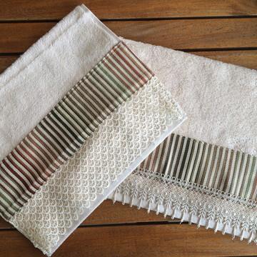 Toalha de Lavabo com Tecido e Guipure