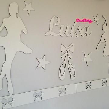 Kit Painel Completo 4 faixas Bailarinas Estrelas MDF Branco