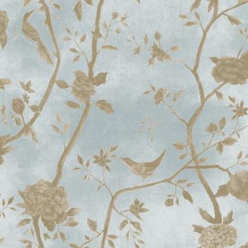 floral azul com passaros 1445