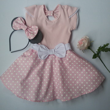 vestido fantasia minie rosa