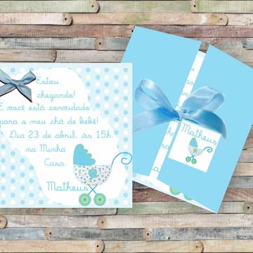 Convite Chá de Bebê Carrinho Azul