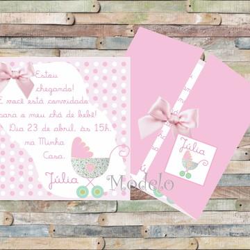 Convite Chá de bebê Carrinho Rosa
