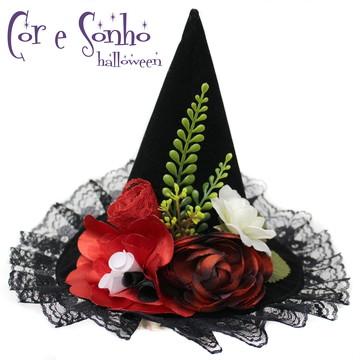 Chapéu Casquete Halloween Luxo Rendas