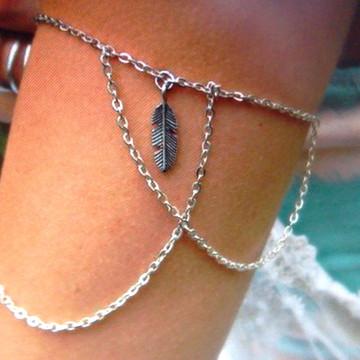 Arm chain colar de braço pena correntes