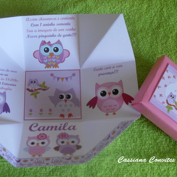 Convite Corujinhas Rosa e Lilás