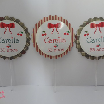 Topper Duplo Cereja Camila