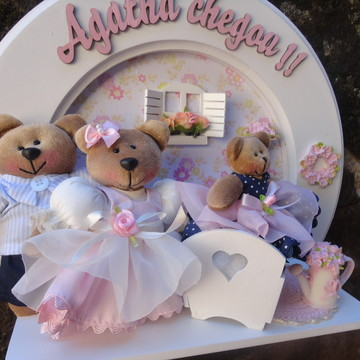 Quadro redondo família ursa princesa