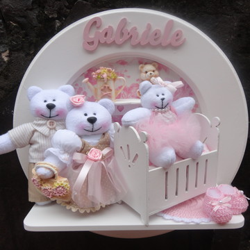 Quadro redondo família ursos princesa