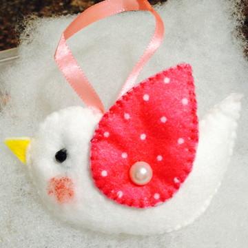 Sachê Perfumado Pássaro branco e rosa