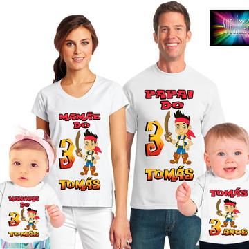 Kit 4 Camisetas Jake e os Piratas