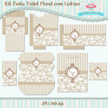 Kit Toalet Floral com Listras